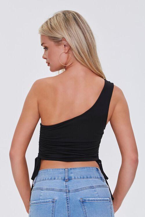 BLACK One-Shoulder Crop Top, image 3