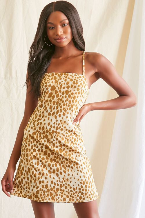 TAN/MULTI Spotted Print Cami Mini Dress, image 1