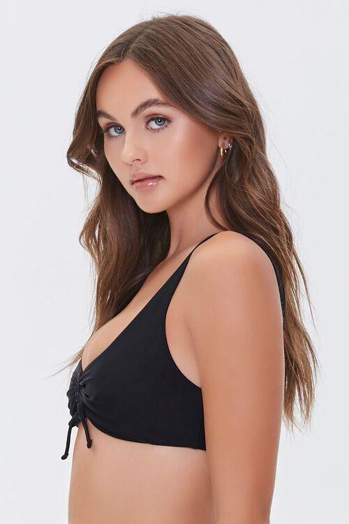 BLACK Ruched Drawstring Bikini Top, image 2