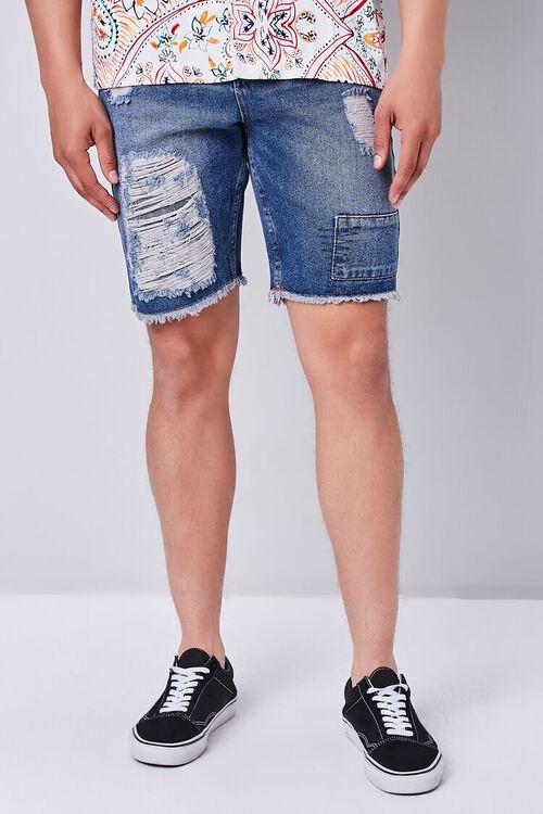 Distressed Frayed Denim Shorts, image 2