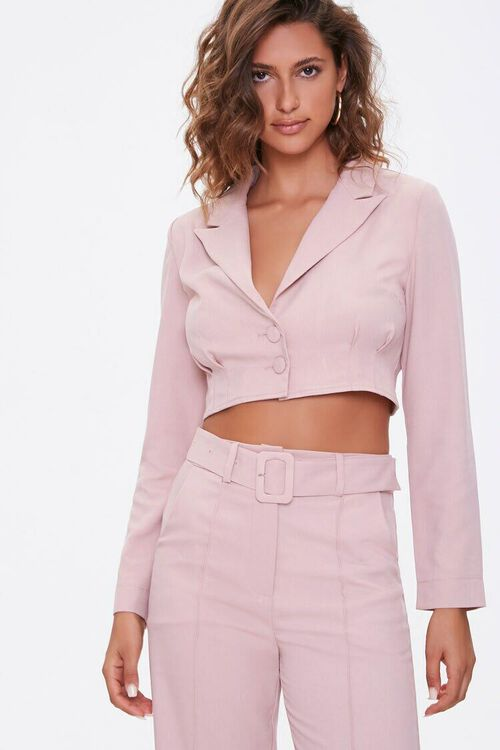 DUSTY PINK Single-Breasted Cropped Jacket, image 1