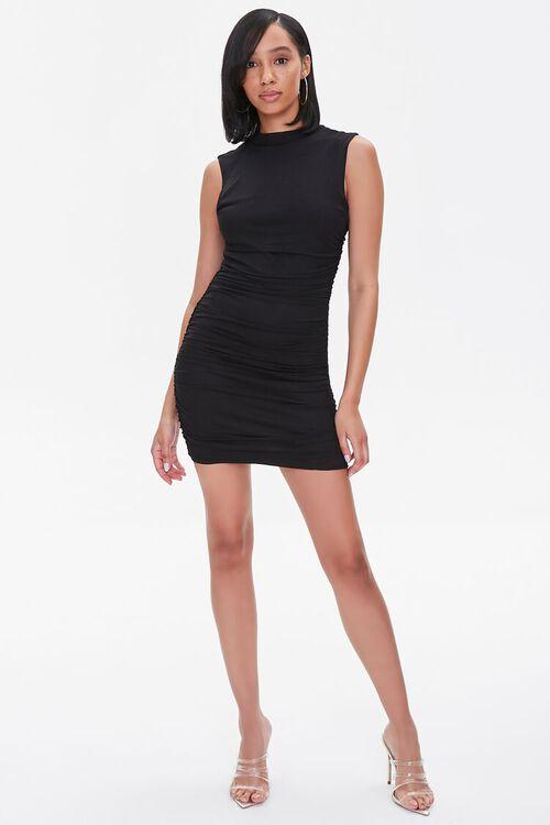 BLACK Ruched Bodycon Mini Dress, image 4