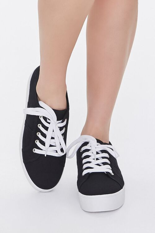 BLACK Lace-Up Low-Top Sneakers, image 4