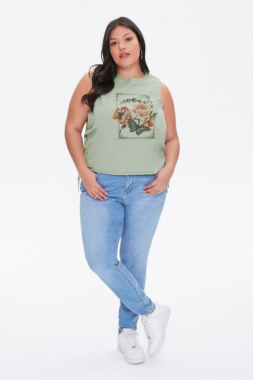 Plus Size Butterfly Graphic Muscle Tee, image 4