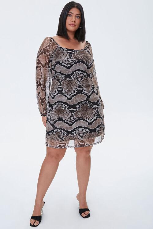 Plus Size Mesh Snake Print Dress, image 4