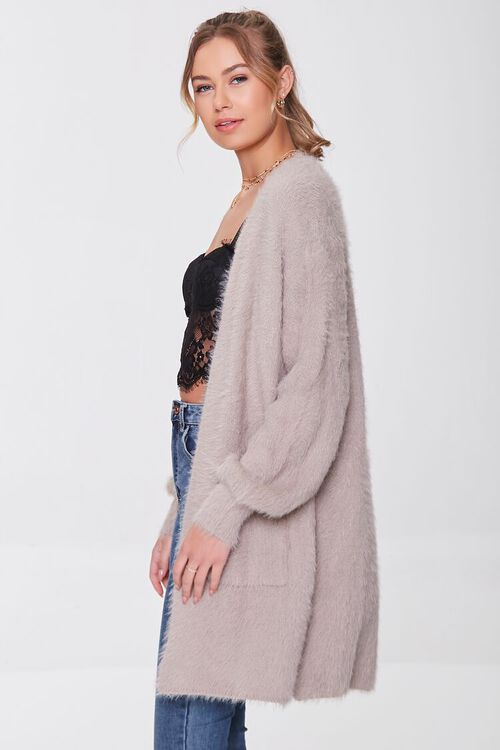 TAUPE Fuzzy Knit Cardigan Sweater, image 2