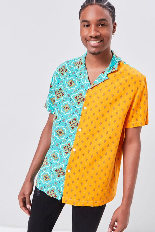 Colorblock Ornate Print Fitted Shirt, image 1