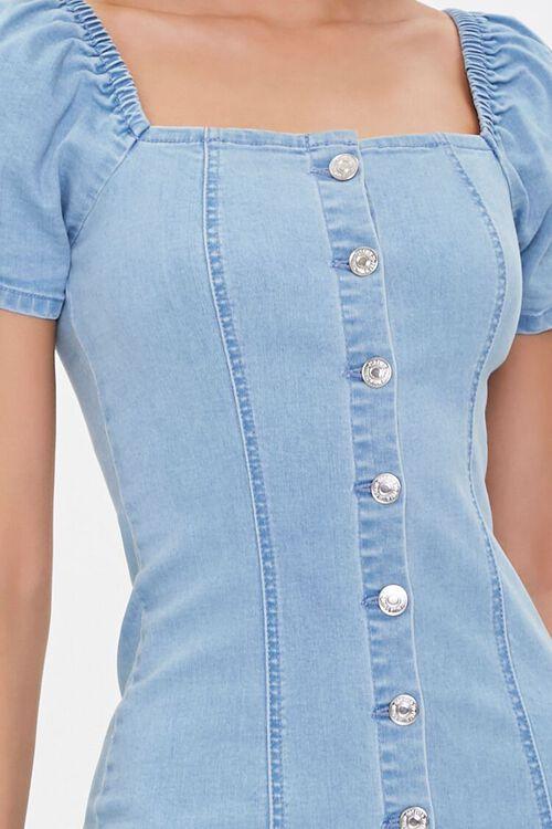 Chambray Puff-Sleeve Sheath Dress, image 5