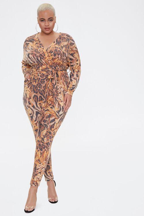 Plus Size Baroque Leopard Print Jumpsuit, image 1