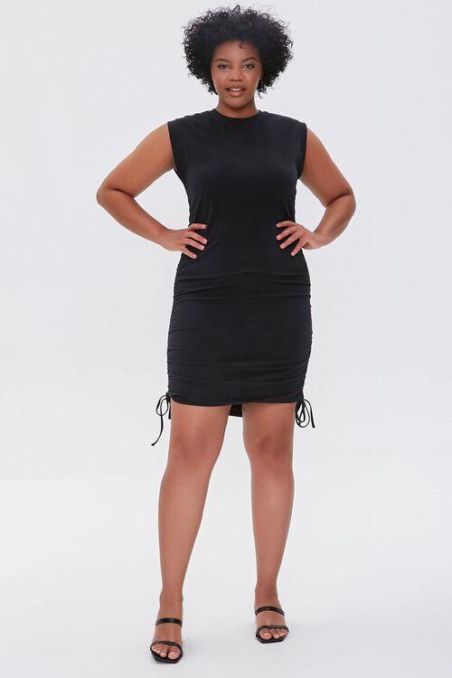 Plus Size Ruched Drawstring Mini Dress, image 4