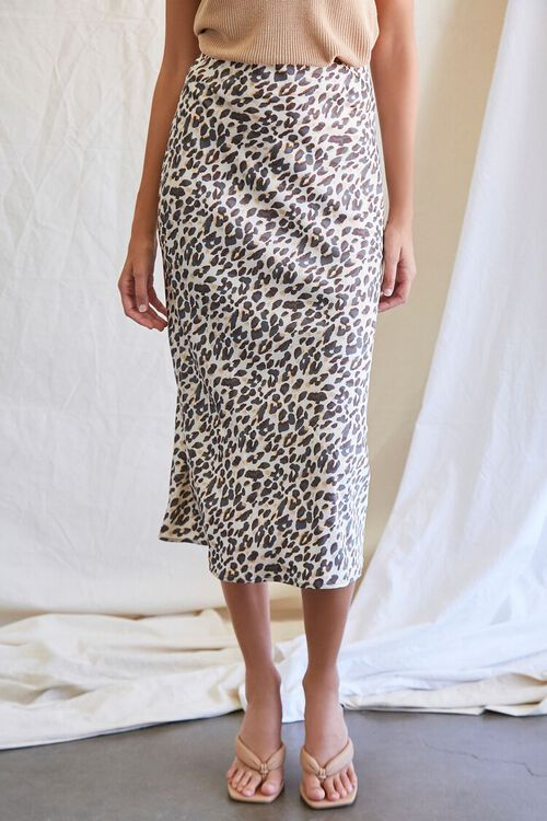 TAN/BLACK Leopard Print Midi Skirt, image 2