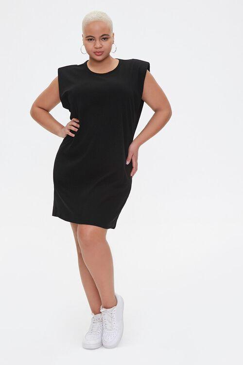 Plus Size Shoulder Pads Tank Dress, image 4