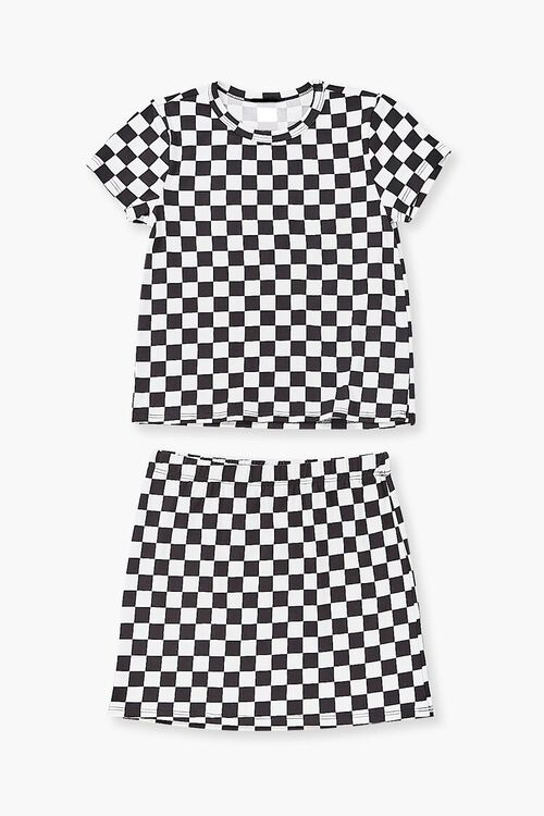 Girls Checkered Tee & Skirt Set (Kids), image 1