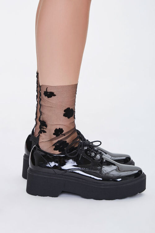 Sheer Floral Crew Socks, image 2