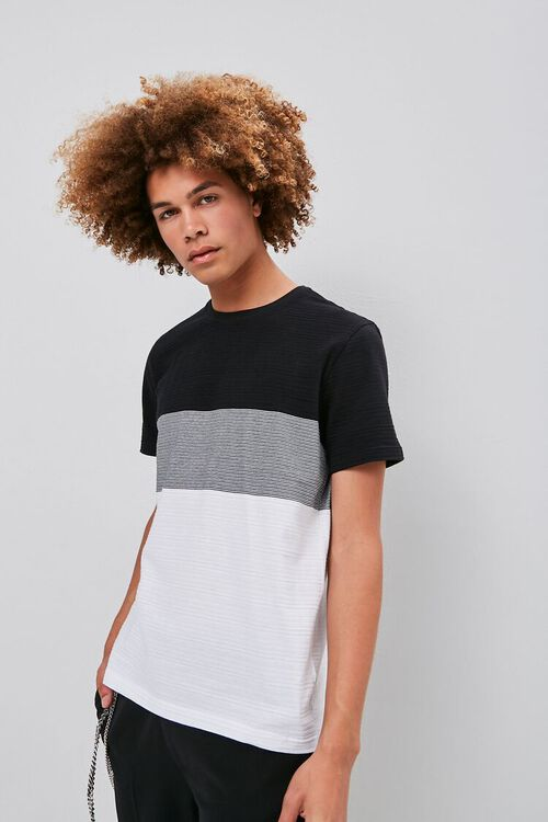 Colorblock Shadow-Striped Tee, image 1