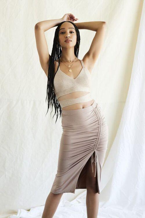 Ruched Drawstring Bodycon Midi Skirt, image 1