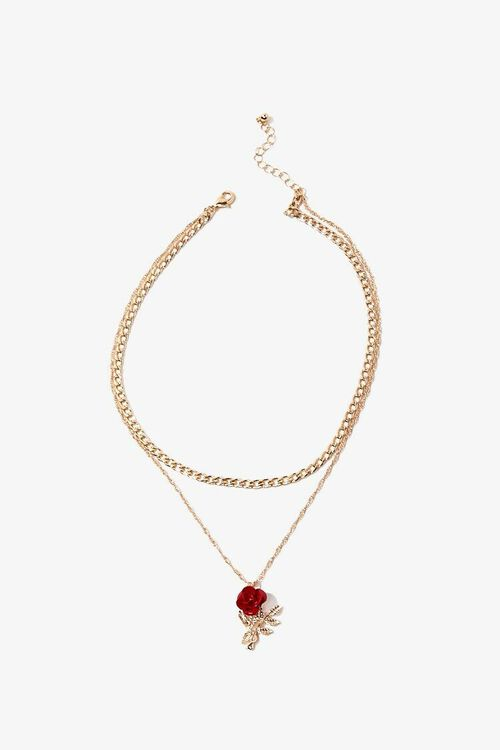 GOLD/RED Layered Rose Pendant Necklace, image 2