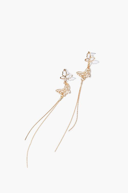 Butterfly Drop Chain Earrings, image 1