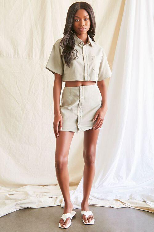 Linen-Blend Shirt & Skirt Set, image 4