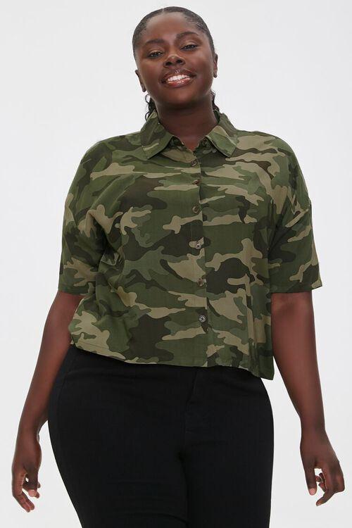Plus Size Camo Print Shirt, image 1