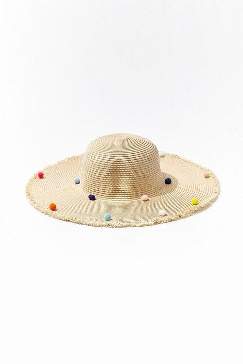Straw Pom Pom Boater Hat, image 1