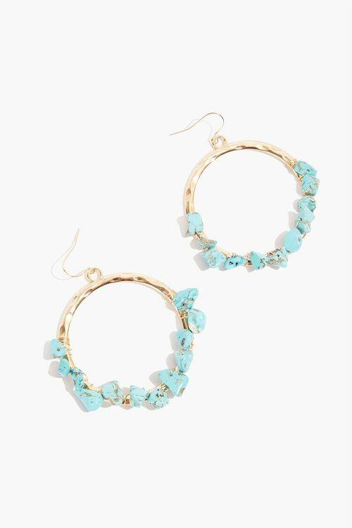 TEAL/GOLD Drop Hoop Stone Earrings, image 1