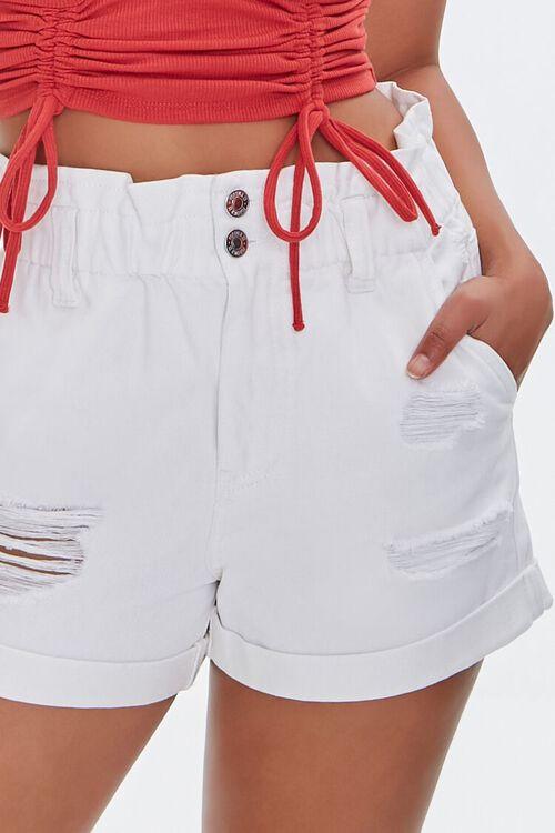 Distressed Denim Paperbag Shorts, image 5