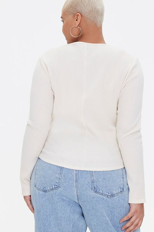 Plus Size Long Sleeve Henley Top, image 3