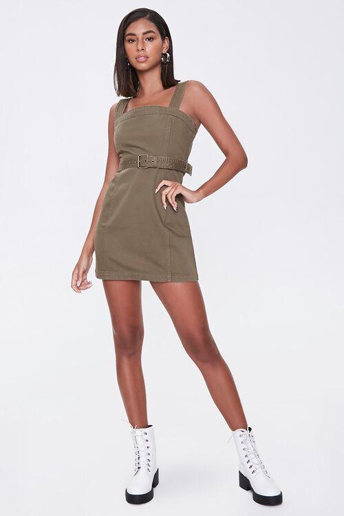 OLIVE Belted Twill Mini Dress, image 4
