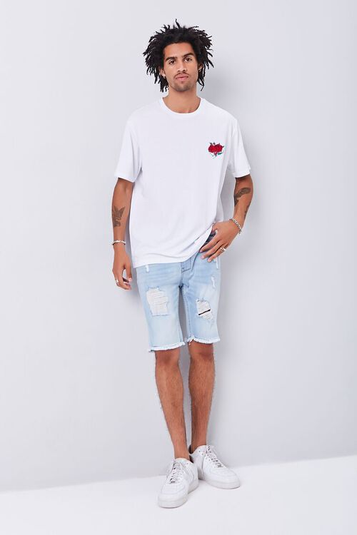 WHITE/RED Rose Embroidered Graphic Tee, image 4