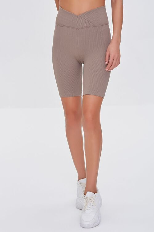 TAUPE Active Seamless Notched Biker Shorts, image 2