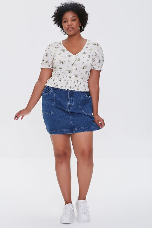 Plus Size Floral Puff-Sleeve Top, image 4