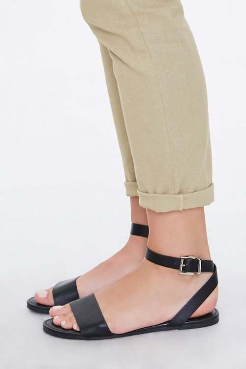 Faux Leather Flat Sandals, image 3