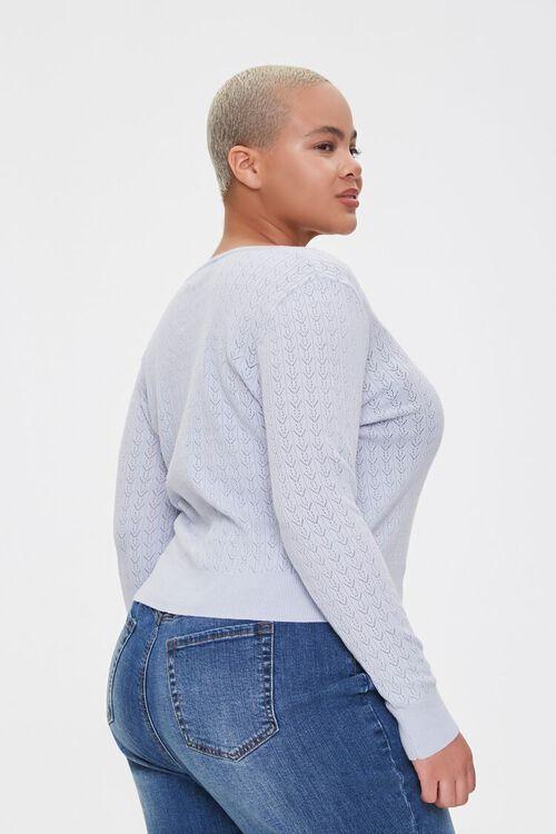 Plus Size Pointelle Cardigan Sweater, image 2