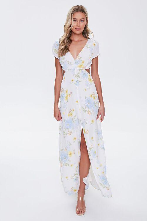 Floral Print Cutout Maxi Dress, image 4