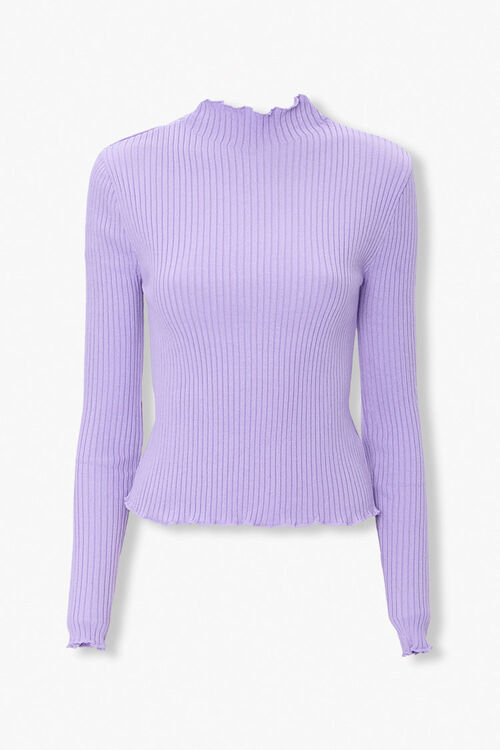 Ribbed Lettuce-Edge Sweater Top, image 1