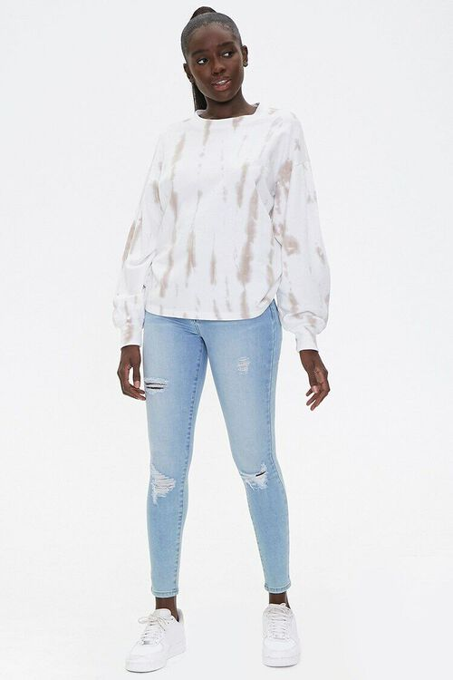 TAUPE/WHITE Tie-Dye Wash Pullover Top, image 4