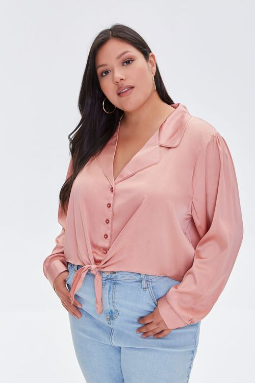 Plus Size Knotted Shirt, image 1