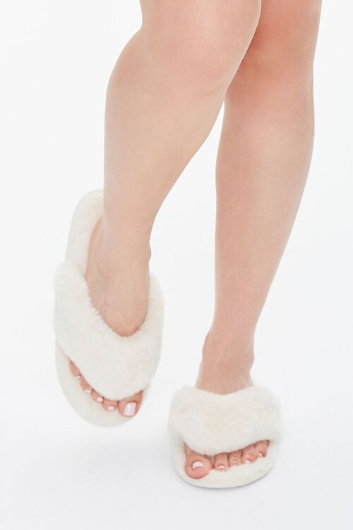 Faux Fur Thong Slippers, image 4