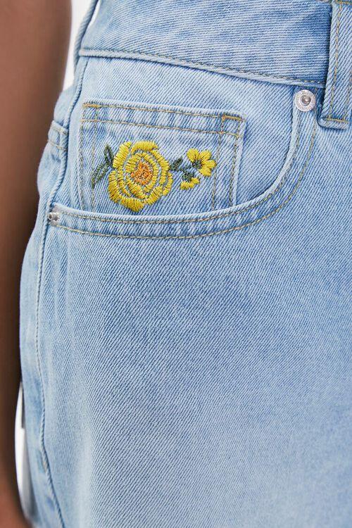 Embroidered Floral Denim Shorts, image 3