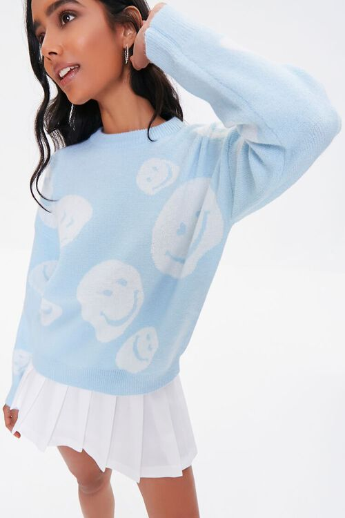 LIGHT BLUE/CREAM Happy Face Graphic Sweater, image 1