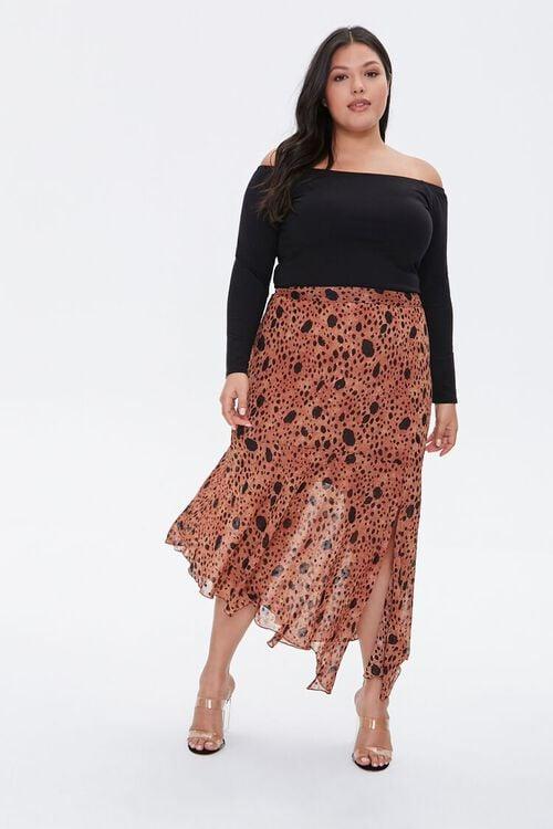 TAN/MULTI Plus Size Spotted Maxi Skirt, image 1