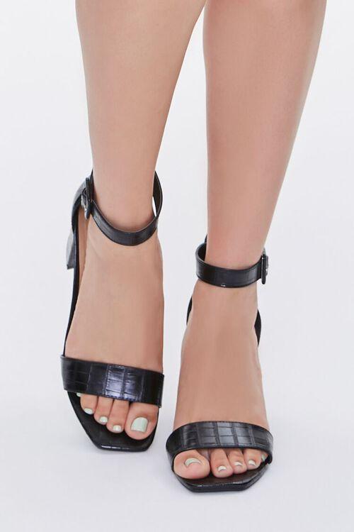 Faux Croc Leather Block Heels, image 4