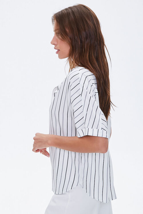 Boxy Pinstriped Dolman Shirt, image 2