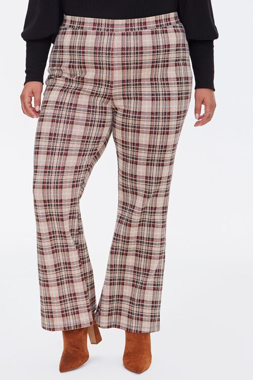 Plus Size Plaid Flare Pants, image 2