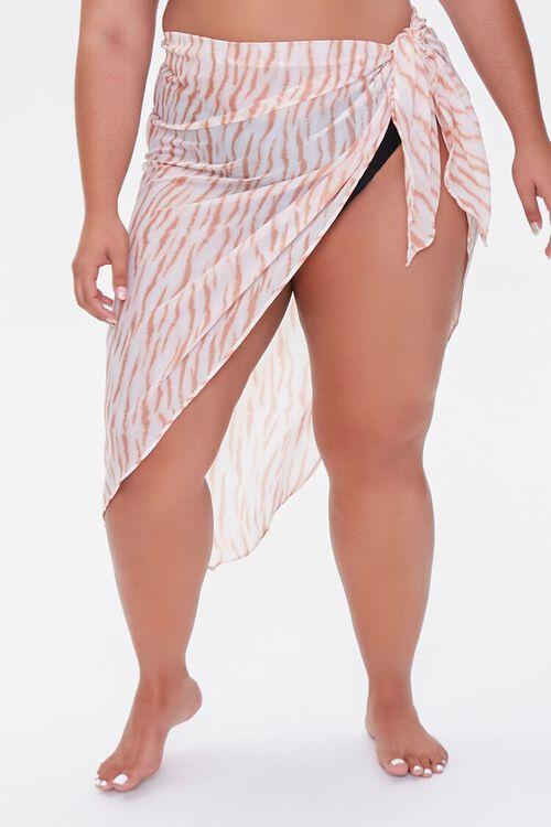 Plus Size Tiger Print Sarong Swim Cover-Up, image 2