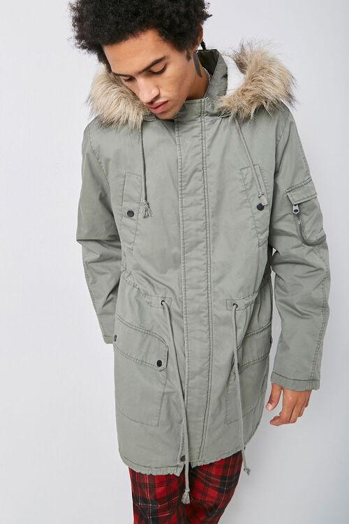 Faux Fur-Trim Longline Parka, image 1