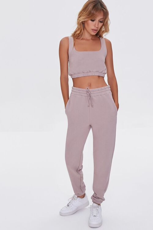 TAUPE French Terry Drawstring Joggers, image 1