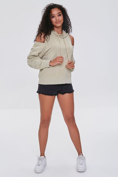 TAUPE Open-Shoulder Seamed Hoodie, image 4