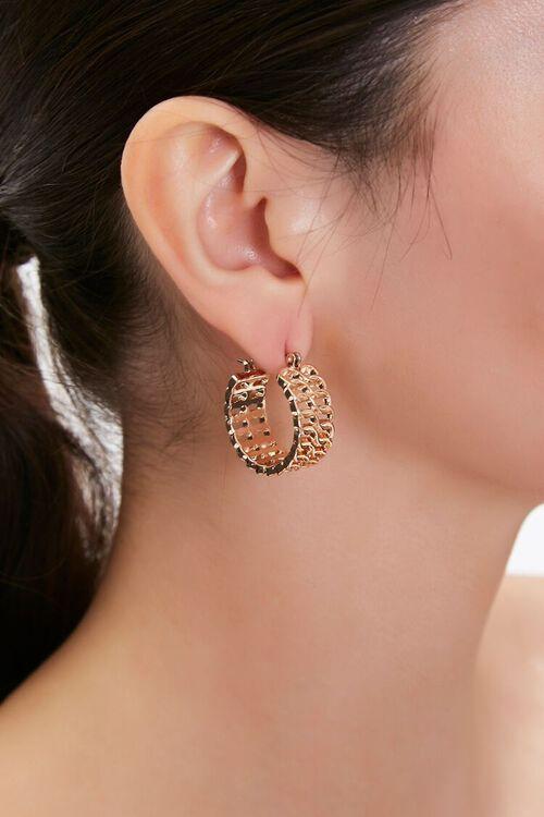Cutout Chain Hoop Earrings, image 1